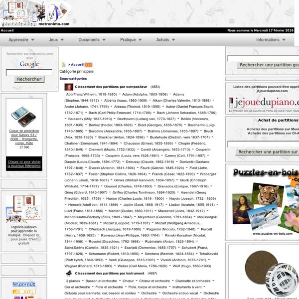 Partitions gratuites sur metronimo.com : Des milliers de partitions gratuites de qualité pour le piano, violon, violoncelle, voix, orgue, orchestre, opéra, etc.
