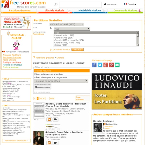 Partitions gratuites ou libres de droits pour CHORALE - CHANT à télécharger au format PDF & Midi
