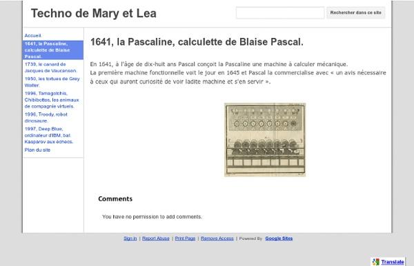 1641, la Pascaline, calculette de Blaise Pascal. - Techno de Mary et Lea
