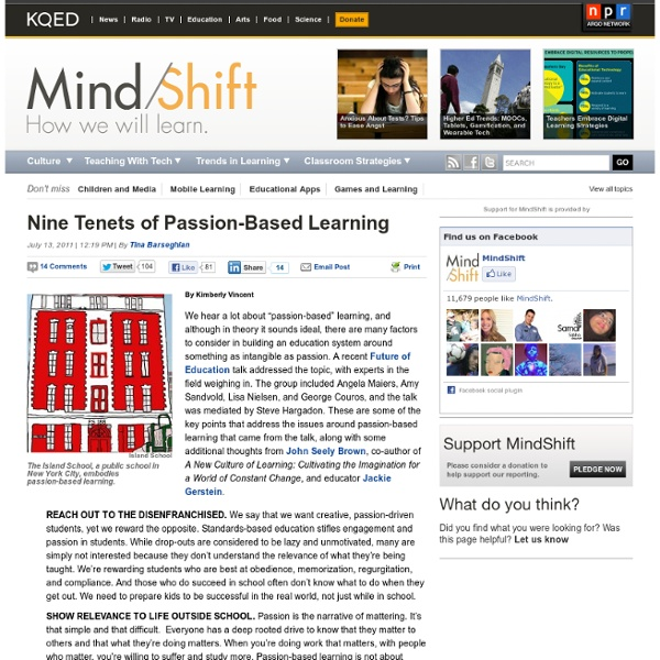 Nine Tenets of Passion-Based Learning