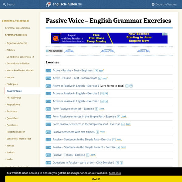 Passive Voice - Learning English - Grammar Exercises
