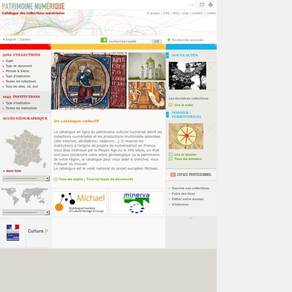 Patrimoine numérique. Catalogue des collections numérisées