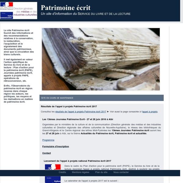 Patrimoine écrit - Accueil