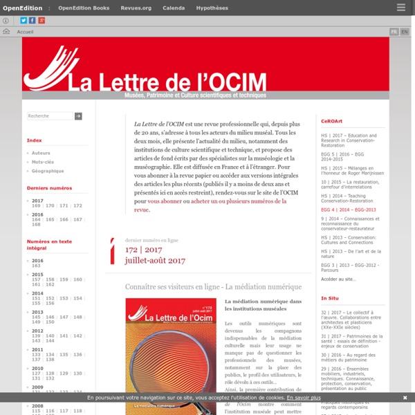 La Lettre de l'OCIM - Musées, Patrimoine et Culture scientifiques et techniques
