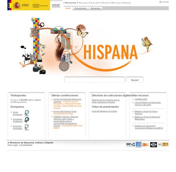 Hispana. Directorio y recolector de recursos digitales > Inicio