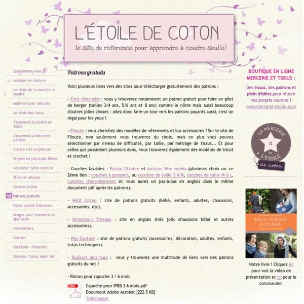 Patrons gratuits - Site de couture pour débutant(e) !