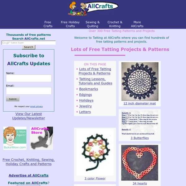 Free Tatting Patterns and Projects, How To Tatting Guides, Charts and More at AllCrafts!