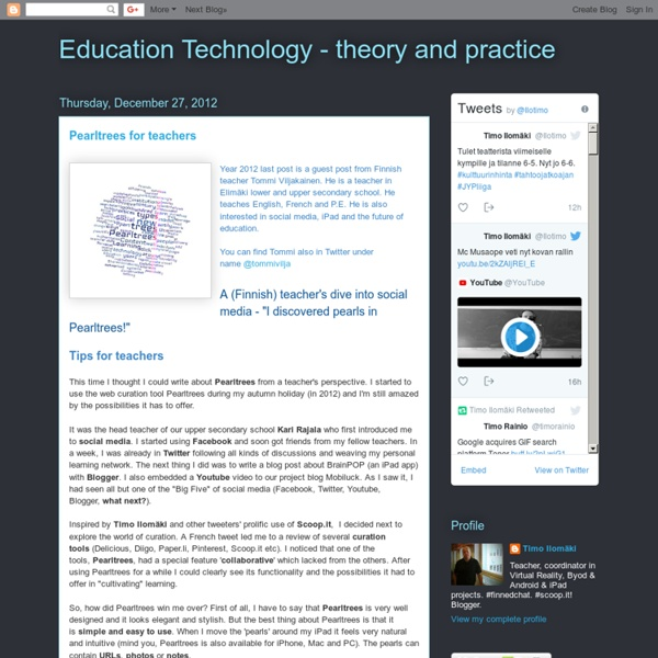 Education Technology - theory and practice: Pearltrees for teachers