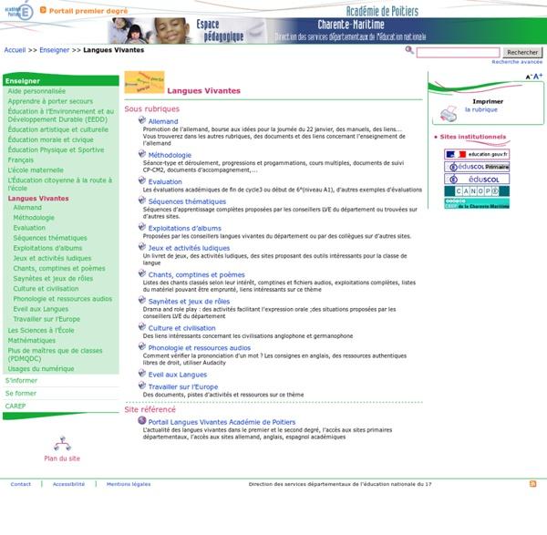 Langues Vivantes - Pédagogie - Direction des services départementaux de l'éducation nationale du 17
