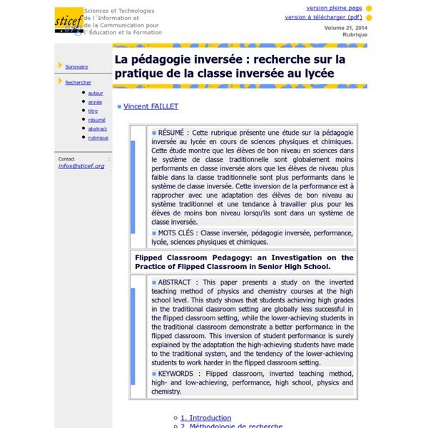 La pédagogie inversée: recherche sur la pratique de la classe inversée au lycée