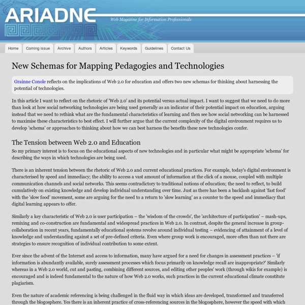 New Schemas for Mapping Pedagogies and Technologies', Ariadne Issue 56