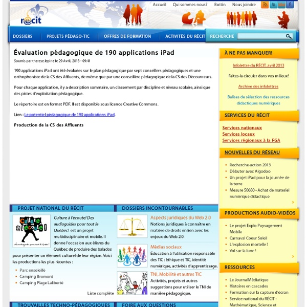 Évaluation pédagogique de 190 applications iPad