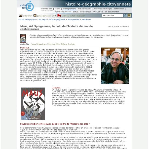 Histoire-géographie-citoyenneté - Maus, Art Spiegelman, témoin de l'histoire du monde contemporain