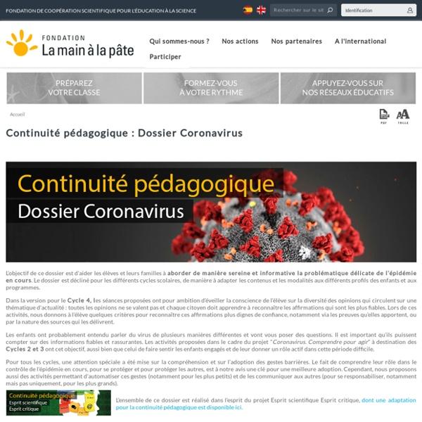 Continuité pédagogique : Dossier Coronavirus