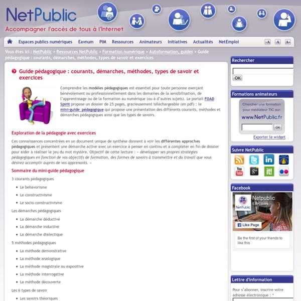 Guide pédagogique : courants, démarches, méthodes, types de savoir et exercices
