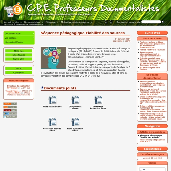 Séquence pédagogique Fiabilité des sources - C.P.E. Professeurs Documentalistes