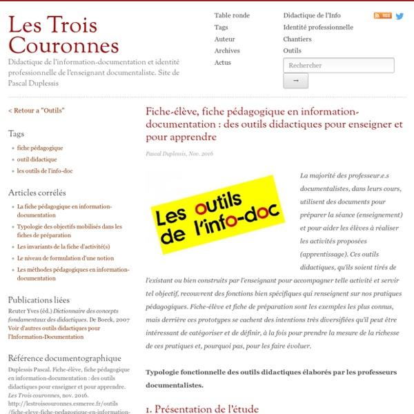 Fiche-élève, fiche pédagogique en information-documentation : des outils didactiques pour enseigner et pour apprendre