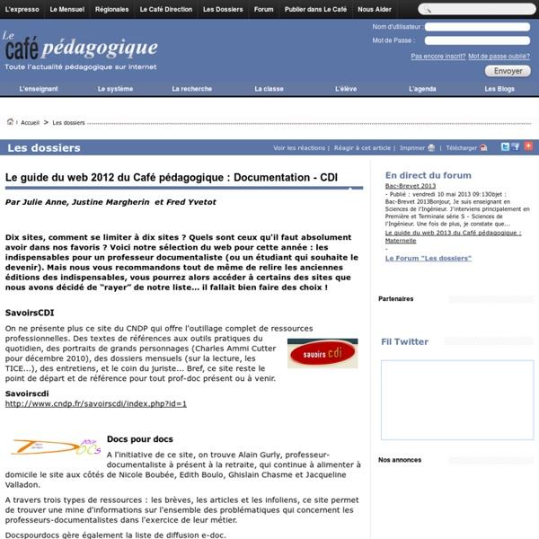 Le guide du web 2012 du Café pédagogique : Documentation - CDI