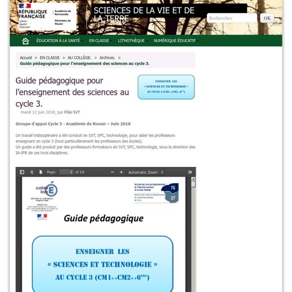 Guide pédagogique pour l'enseignement des sciences au cycle 3.