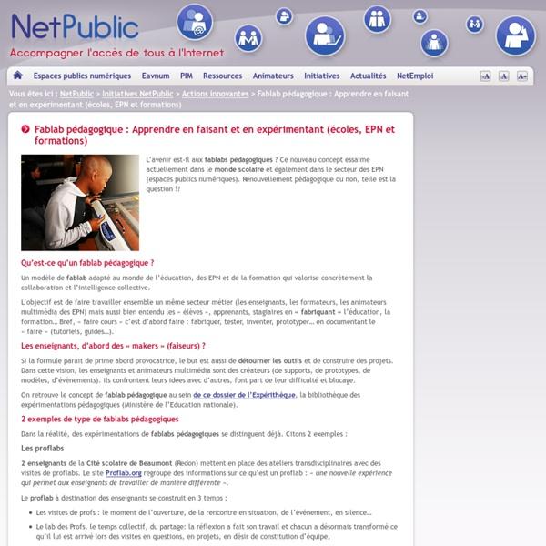 Fablab pédagogique : Apprendre en faisant et en expérimentant (écoles, EPN et formations)