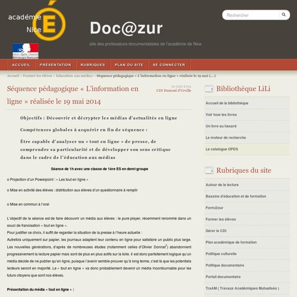 Séquence pédagogique « L'information en ligne » réalisée le 19 mai 2014