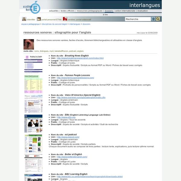 Interlangues - ressources sonores : sitographie pour l'anglais