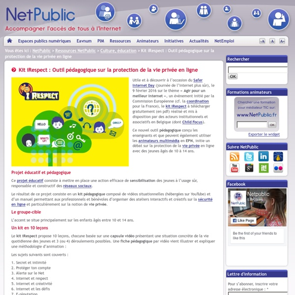 Kit iRespect : Outil pédagogique sur la protection de la vie privée en ligne