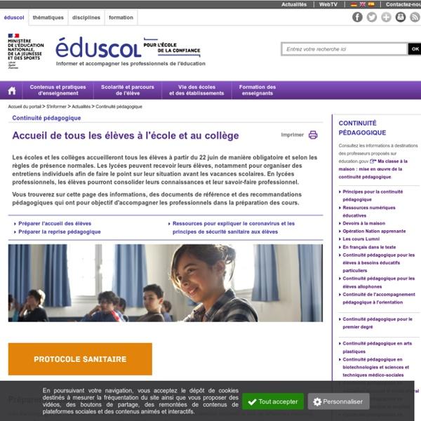 Continuité pédagogique - Réouverture des écoles