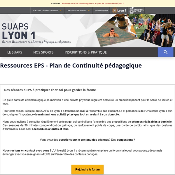 Ressources EPS - Plan de Continuité Pédagogique - Service Universitaire des Activités Physiques et Sportives - Université Lyon 1