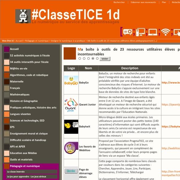 Ma boîte à outils de 24 ressources utilitaires élèves pédagogiquement incontournables