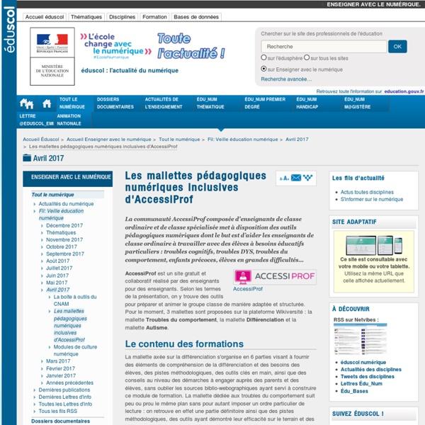 Les mallettes pédagogiques numériques inclusives d'AccessiProf — Enseigner avec le numérique