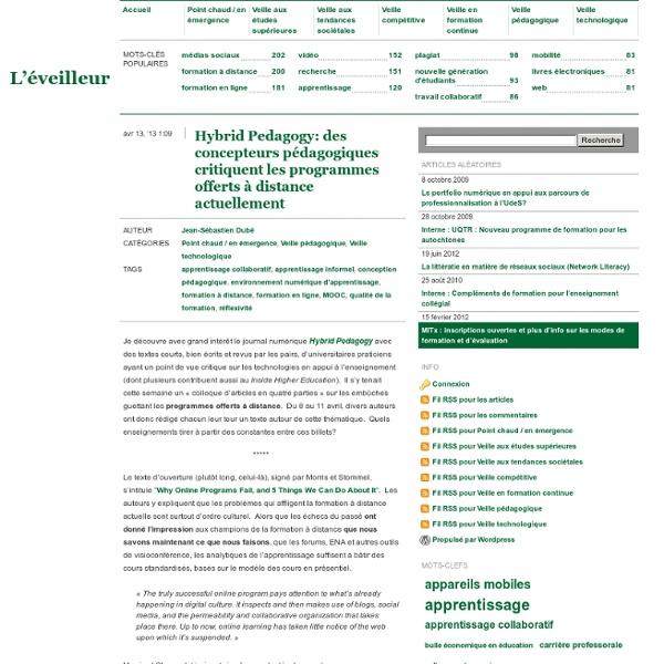 Hybrid Pedagogy: des concepteurs pédagogiques critiquent les programmes offerts à distance actuellement