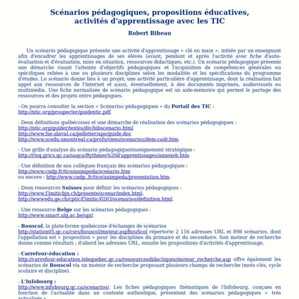Scénarios pédagogiques, propositionséducatives, activités d'apprentissage avec les TIC