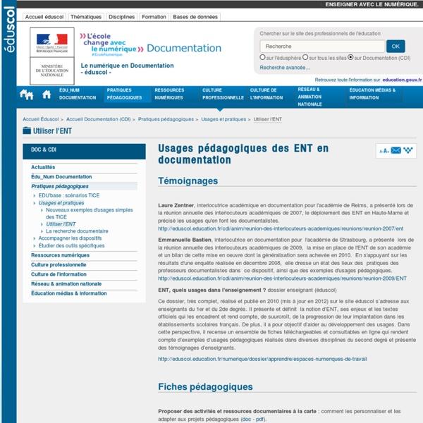 Usages pédagogiques des ENT en documentation — Documentation (CDI)