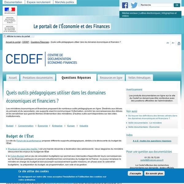 Quels outils pédagogiques en ligne sont proposés par les ministères économique et financier?
