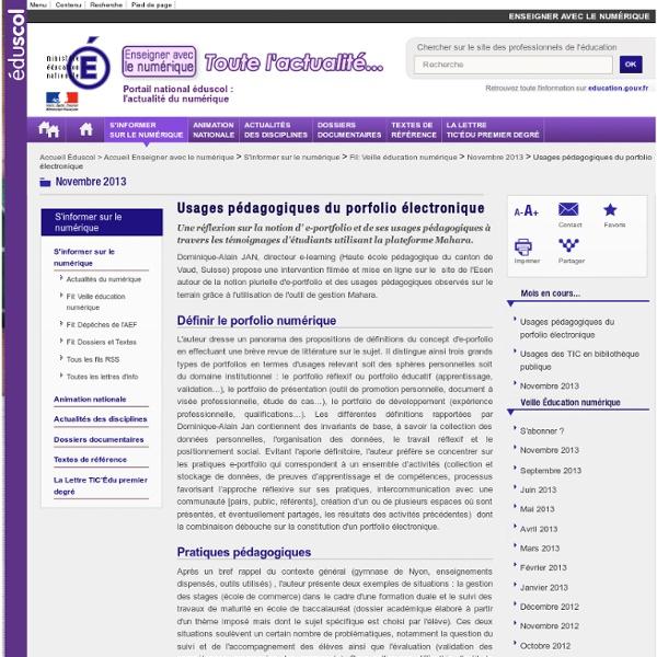 Usages pédagogiques du porfolio électronique — Enseigner avec le numérique
