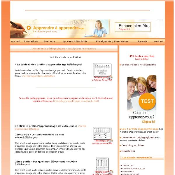 Pédagogie : fiches pédagogiques pour les enseignants et les professeurs