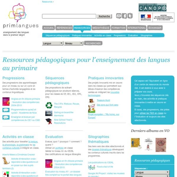 Ressources pédagogiques pour l'enseignement des langues au primaire