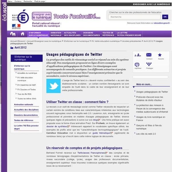 1.1 : Usages pédagogiques de Twitter