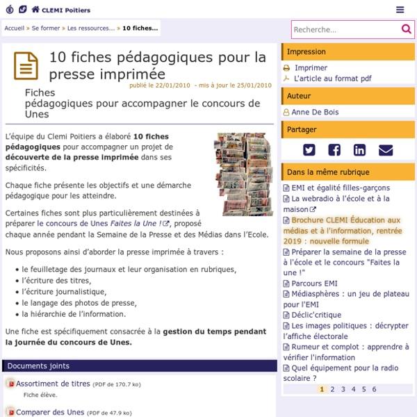 10 fiches pédagogiques pour la presse imprimée - CLEMI