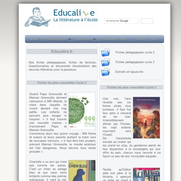 Fiches pedagogiques en litterature pour la jeunesse