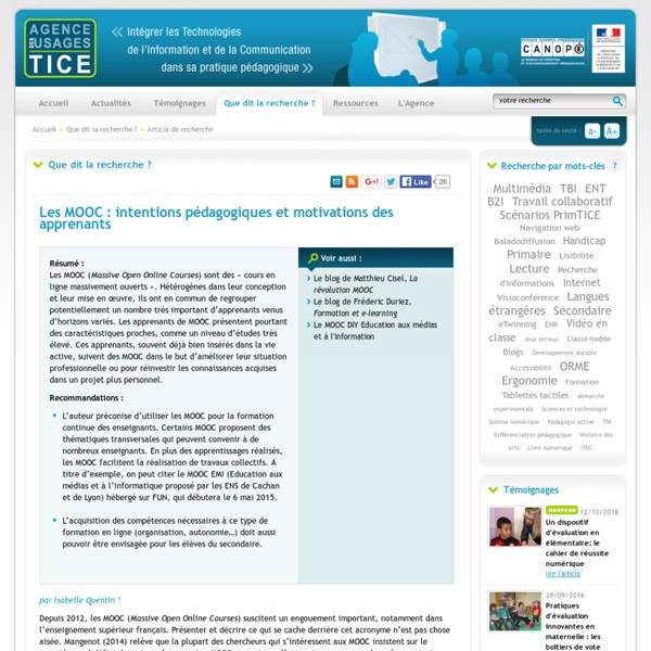 L'Agence nationale des Usages des TICE - Les MOOC : intentions pédagogiques et motivations des apprenants