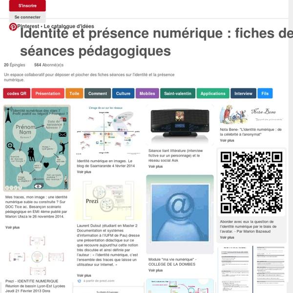 Identité et présence numérique : fiches de séances pédagogiques sur Pinterest