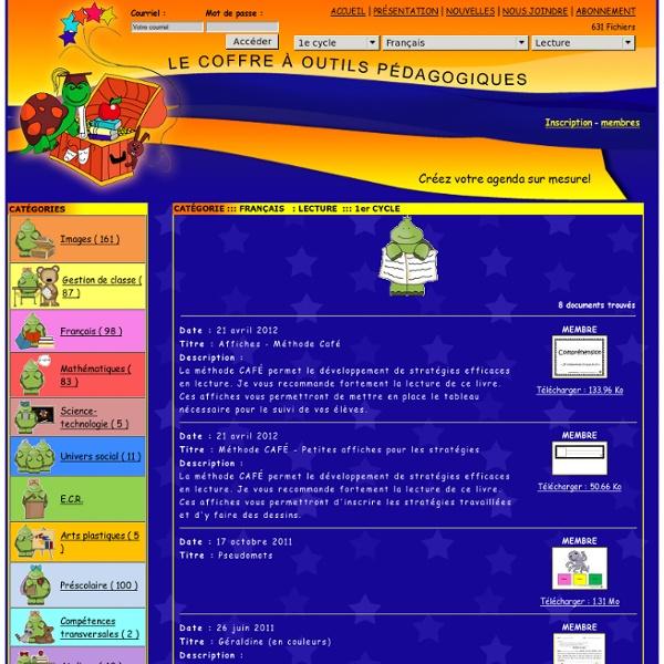 Des outils pédagogiques pour les enseignants du primaireFRANÇAIS LECTURE 1er CYCLE