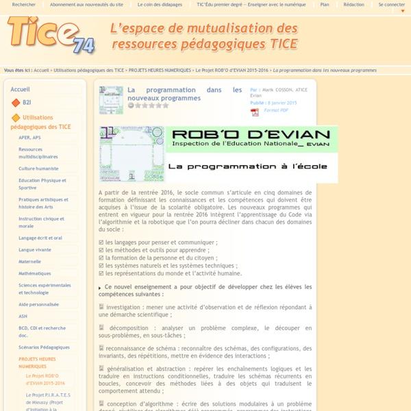Tice 74 - Site des ressources pédagogiques TICE - La programmation dans les nouveaux programmes