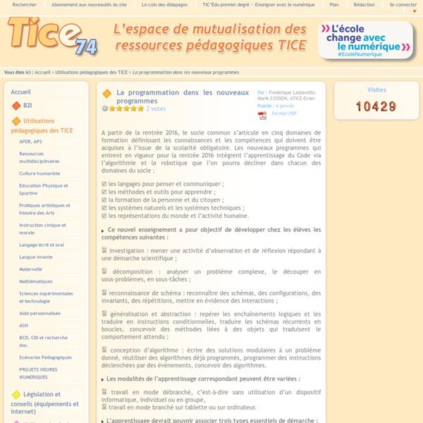 Janv. 2016 Tice 74 - Site des ressources pédagogiques TICE - La programmation dans les nouveaux programmes