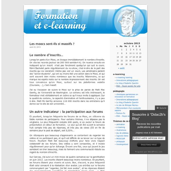 Des outils pédagogiques, des réflexions sur la formation et le e-learning, et beaucoup d'images !