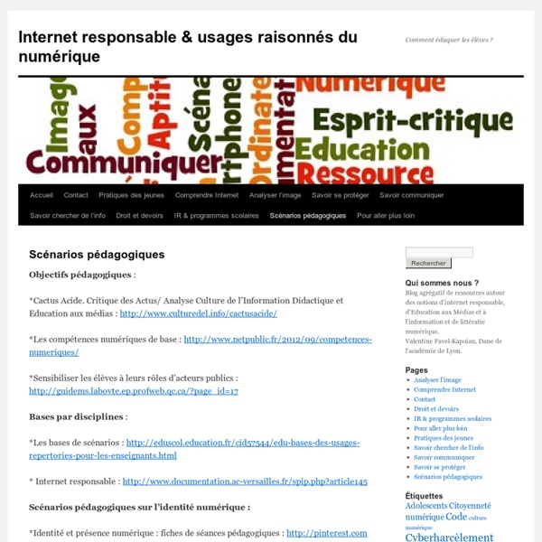 Internet responsable » Scénarios pédagogiques