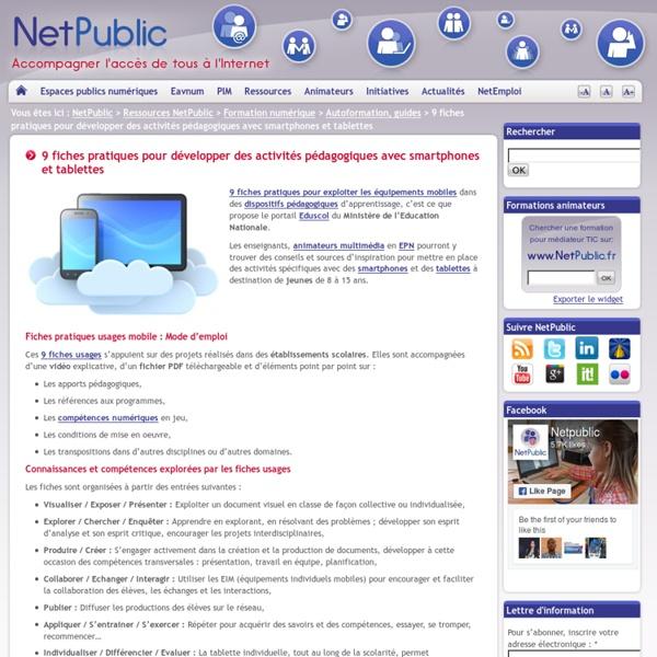 9 fiches pratiques pour développer des activités pédagogiques avec smartphones et tablettes