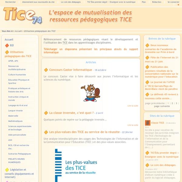 Tice 74 - Site des ressources pédagogiques TICE - Utilisations pédagogiques des TICE